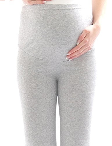 Femme Pantalon maternité enceinte-Legging grossesse Capri 3/4 leggings de Coton, - Denim, X-Large