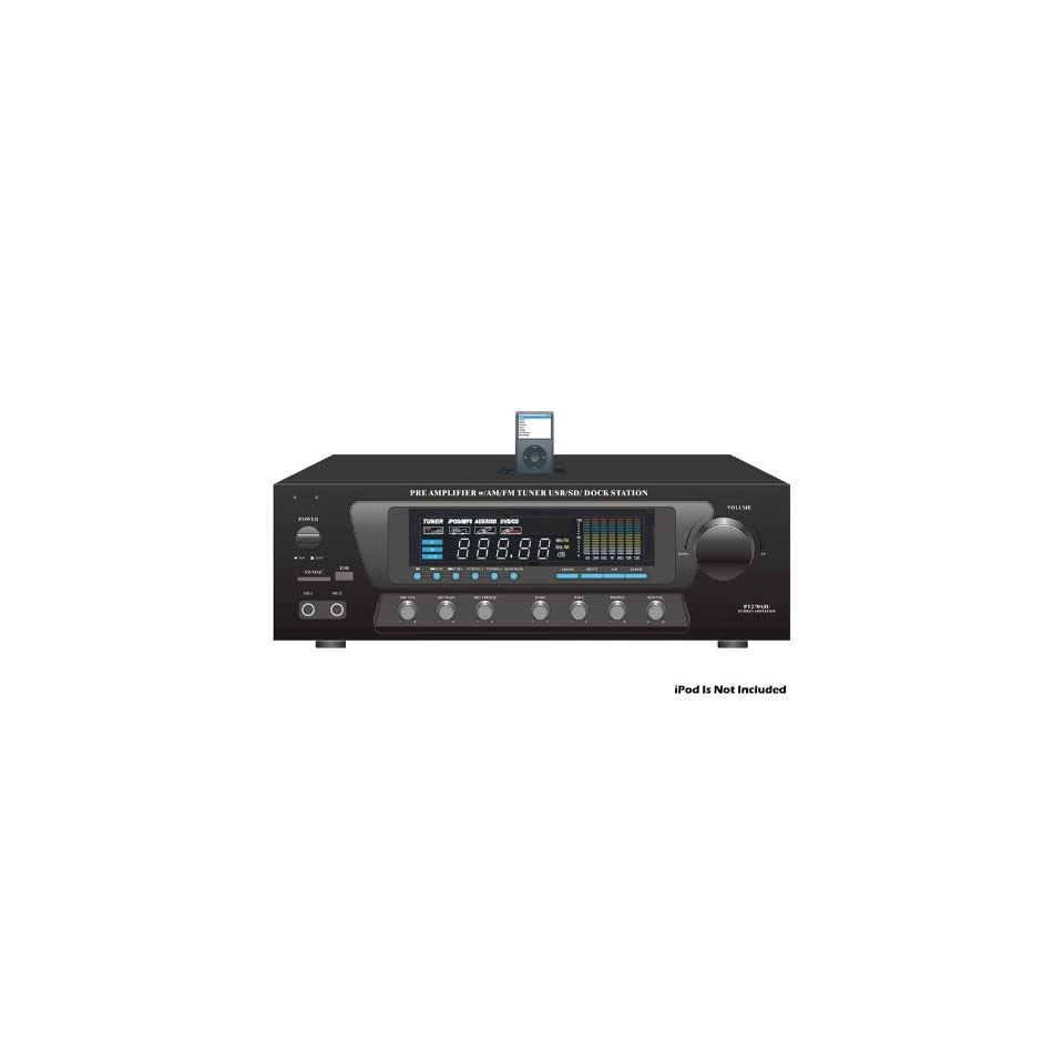Pyle Pt270aiu Home Theater Am Fm Receiver & Amplifier With Ipod Iphone Dock