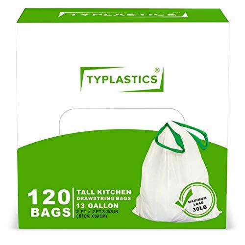 TYPLASTICS Tall Kitchen Trash Bags - Drawstring 13 Gallon Trash Bag - 120 Count - White (Bags 120 Biodegradable)