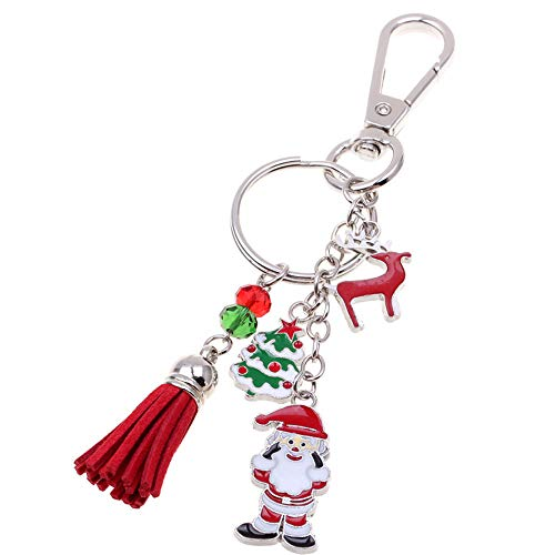 (Tassel Keychain Tree Santa Claus Deer Pendant Charm Keyring for Girls Friends Kids )
