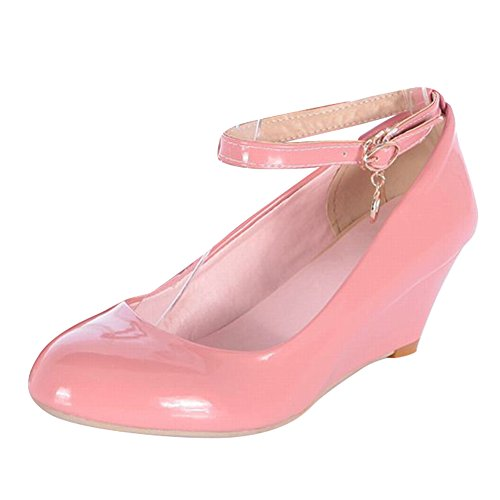 Carol Shoes Women's Fashion Candy Color Mid Heel Wedge Buckle Court Shoes Pink 1Xw2Vi