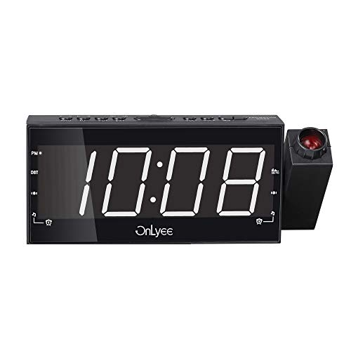 "OnLyee Projection Clock, AM FM Radio Alarm Clock, Bedroom Desk Wall Ceilling Clock, 7"" Large Digit Clock, 3 Dimmer Options, Dual Alarm, USB Charging Port, Battery Backup"