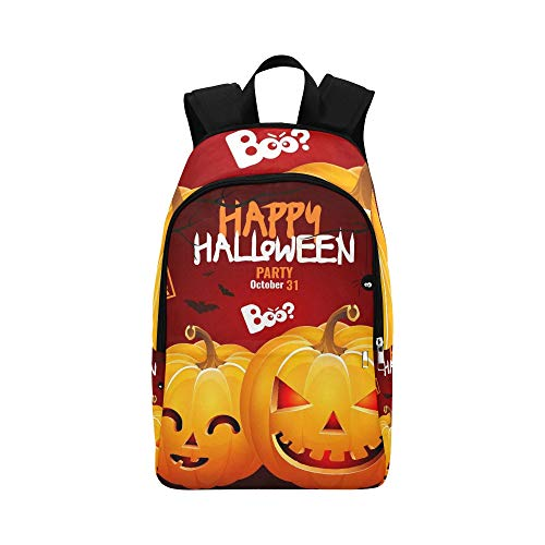 IIAKXNB Halloween Pumpkin Head Jack Lantern Poster Casual Daypack Travel Bag College School Backpack Mens -