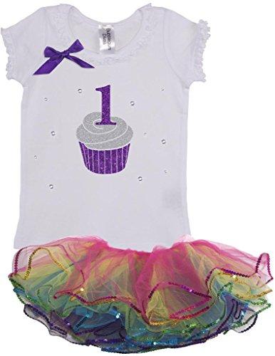 Bubblegum Divas Baby Girls' 1st Birthday Rainbow Cupcake Tutu Set