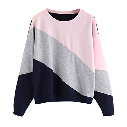 2019 New!!Forthery Women Casual Long Sleeve Crewneck Top Oversized Striped Shirt Tunics Blouse Pullover Sweatshirt(Gary,L)