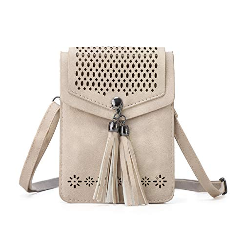 - Beige Small Crossbody Purse PU Leather Flap Crossbody Bags Tassel Crossbody Phone Bag for Women
