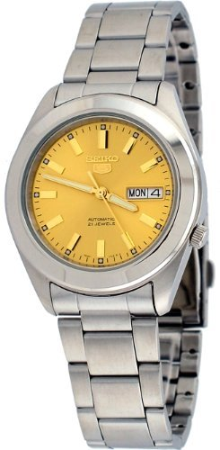 Seiko 5 Automatic Champagne Dial Stainless Steel Mens Watch SNKM63