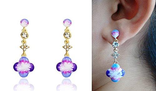 Ananth Jewels Swarovski Elements Austria Rhinestone Enamel Dangle Flower Shape Earrings for Women (Tin Man Nose)