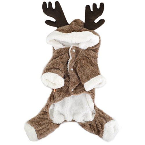 Budd Pet Dog Clothes Winter Puppy Reindeer Costume Outwear Dog Hoodies Coat with Hat Thick Velvet Jumpsuit for Small Medium Large Dogs Halloween Christmas Holiday Apparel Outfit (Brown,L)