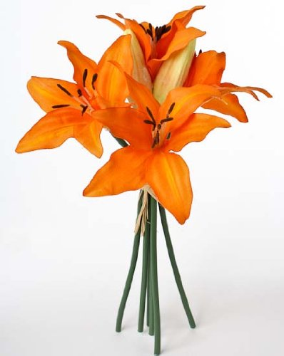 Anniversary Lily Bouquet (Mini Imitation Silk Variegated Sunshine Orange Tiger Lily Bouquets- 3 Bouquets with 6 Stems (A Total of 18)