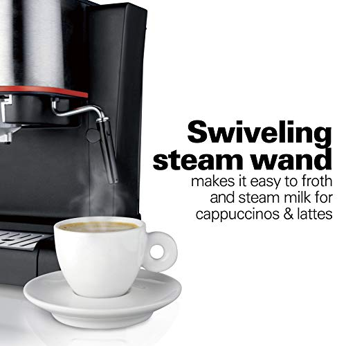 Hamilton Beach Espresso Latte and Cappuccino Machine with Milk Frother 15 Bar Italian Pump Black and Stainless 40792