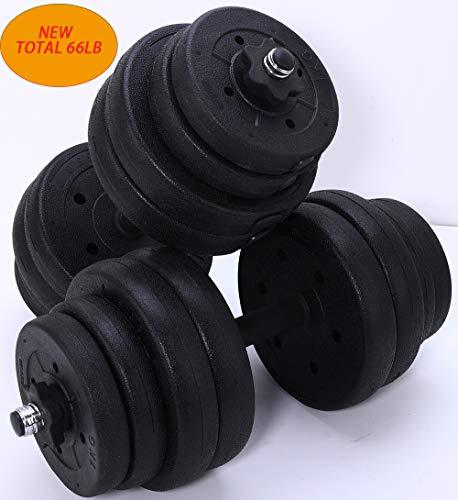 Updated Adjustable 66LB Dumbbells Weights Set with Metal Rod for Barbell,Dumbbells Barbell set for Lifting,Bodybuilding…