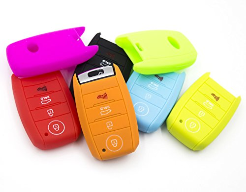 LIGHTKOREA 4 Button Silicone Smart Key Case Cover 1Pcs For Kia Soul Carnival Sedona Niro Sorento Sportage Rio Forte Optima Cerato Koup (Red)