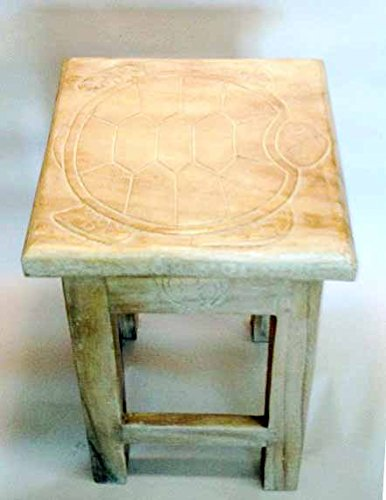Sea Turtle Hand Carved Wooden Stool/Table in White Wash Finish