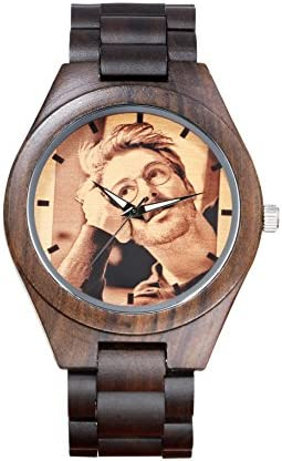 Engraved Wooden Watch,Kenon Black Custom Sandalwood Sport Wood Watch with Photo Personalized Gift for Men and Women