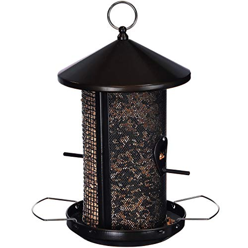 Feather & Feed Double Chamber Bird Feeder | Holds 5 LBS of Feed | Steel | Black | 12