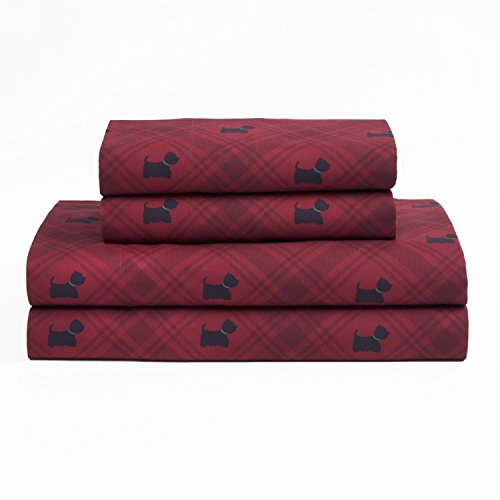 4 Piece Dark Red Black Color Westie Dog Plaid Sheets Queen Set, Red Multi Animal Print Gingham Lumberjack Checkered, Glen Check Crossing Lines Novelty Charming Bedding Master Bedroom, Polyester