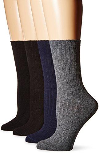 Hue Dress Socks (HUE Women's Rib Dress Socks 4 Pk, Graphite Heather, One Size)