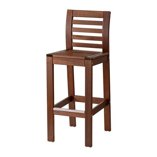 Ikea Bar stool with backrest(without cushion), outdoor, brown stained 1626.26262.1426 (Bar Ikea Outdoor Stools)