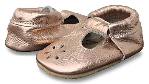 Lucky Love Baby & Toddler Soft Sole Prewalker Skid Resistant Boys & Girls Shoes (12-18 Months, T-Strap Rose Gold)
