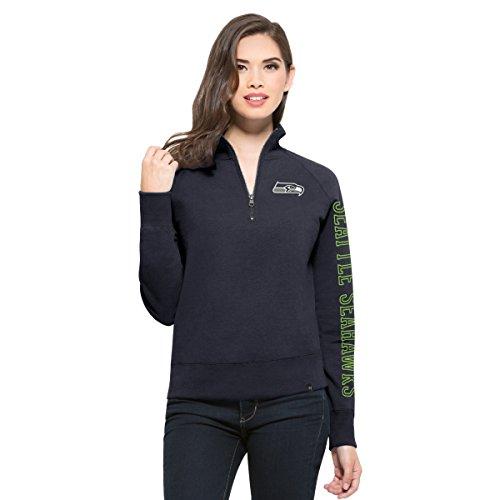 NFL Seattle Seahawks Women's '47 Shimmer Cross-Check 1/4-Zip Fleece Pullover, Large, Midnight (Seattle Cap Sleeve T-shirt)