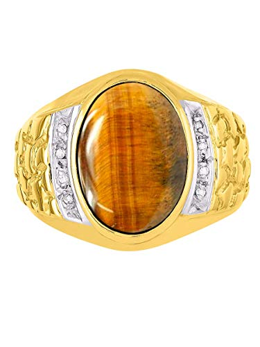- RYLOS Designer Genuine Tiger Eye & Diamond Nugget Ring Set in 14K Yellow Gold Plated Silver Size 8-18