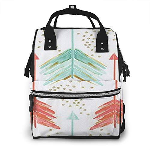 Coral and Teal Arrows Diaper Bag Multi-Function Waterproof Travel Mummy Backpack Nappy Bags for Baby Care, Large Capacity, Stylish and Durable (Teal Arrows Diaper Bag)
