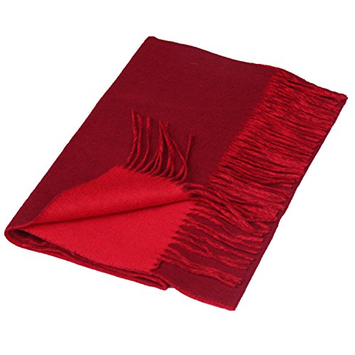 Saferin Women Men Cashmere and Wool Plaid Warm Soft Scarf with Gift Box (NMG-Double Side Burgundy) from SAFERIN