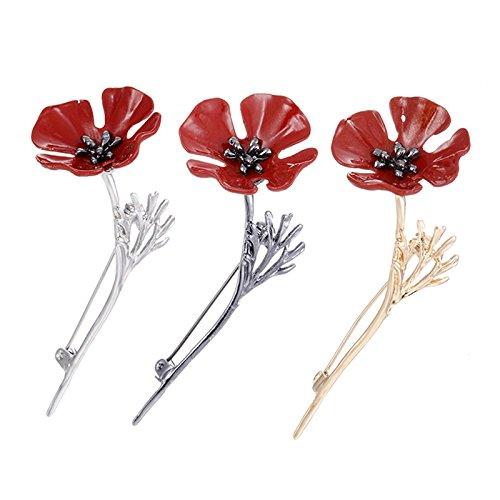 3 Pcs Vintage Enamel Red Poppy Flower Brooch Collar Pins Jewelry Suit Pins Accessories BY DINGJIN