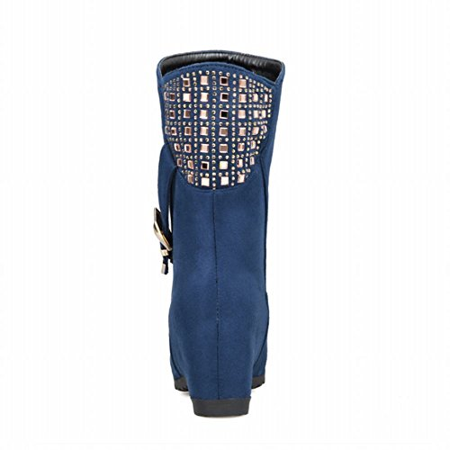 Latasa Womens Fashion Nubuck Strap Buckle Studded Short Wedge Heel Slouchy Boots Blue x0WxU