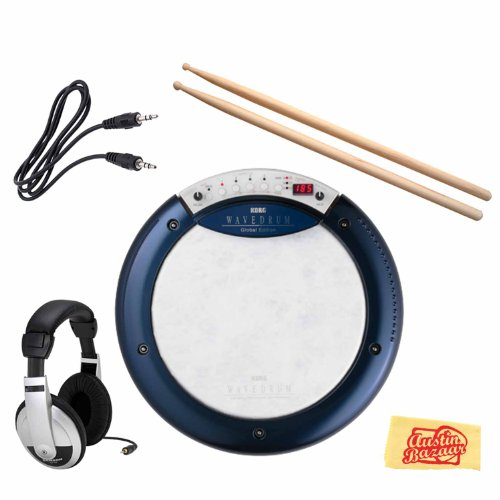 Korg Wavedrum Global Edition Dynamic Percussion Synthesizer Bundle with Headphones, Drumsticks, 3.5mm Aux Cable, and Polishing Cloth by Korg