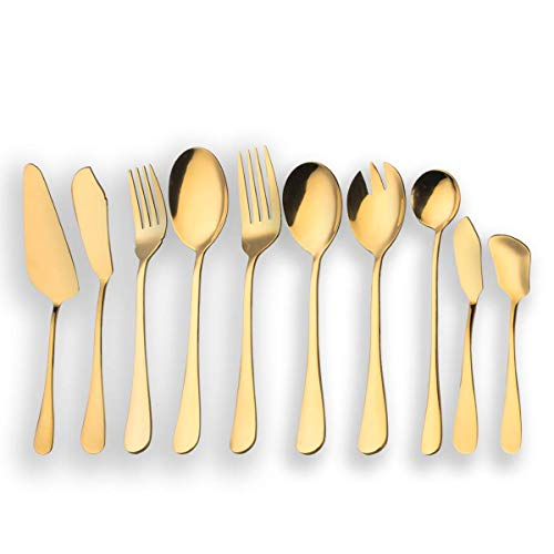 Berglander Stainless Steel Golden Serving Flatware Set, Golden Serving Silverware Set, Cake Server, Fish Knife, Fish Fork, Serving Spoon, Serving Fork, Salad Spoon, Salad Fork, Butter Knife, Icecream