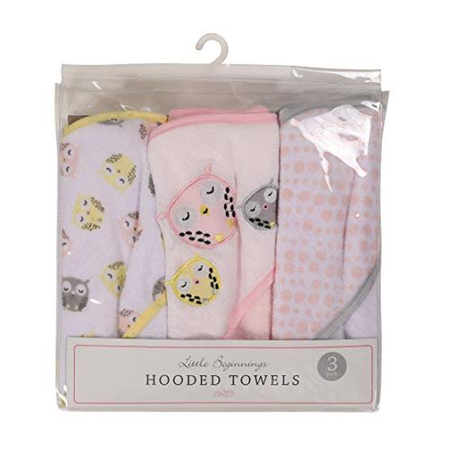 Buttons and Stitches 3 Piece Infant Hooded Towel in PVC Packaging, Owl