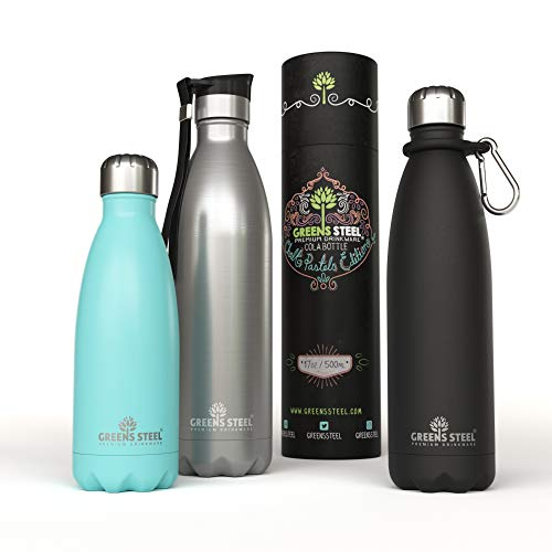 Greens Steel Stainless Steel Water Bottle – 12 oz Vacuum Insulated Double Wall with Push Lid/Leak Proof Thermal Travel Sports Flask Coffee Canteen/Cola Shape Bonus Value Bundle - 12 oz Blue