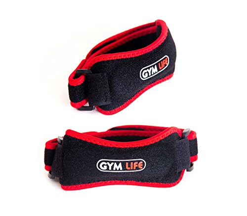 Gym Life Fitness Patellar Tendon Knee Strap, (Pack of 2) - Red And Black