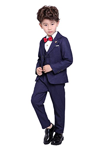 Boys Check Suit with Lapel Collar 3-Pieces Slim Fit Trousers Check Blazer Vest Blue Prom Suit Set for Wedding 10 by Fengchengjize