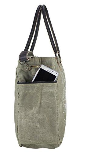 de Vintage Sunsa tela de tela de bolso señora mano hecho hombro con cuero compra Bolso 51814 de Bolso qRwIU