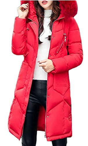 Button Womens Warm Outwear TTYLLMAO Red Down Jackets Parka Zipped Hooded Coat fHYqTPwqR