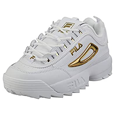 Fila Disruptor II Metallic Accent Womens White/Gold Trainers-UK 4 / EU 37.5