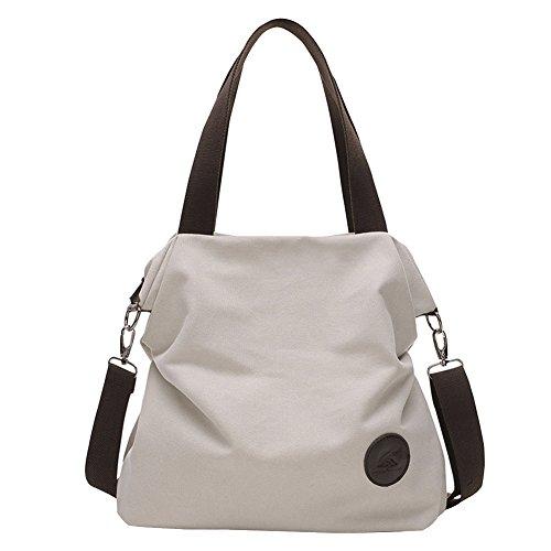 Gray Casual Tote Women's Handle Canvas Purse Hobo Shoulder Shopper Handbag Daily Top Pq1OA6xwq