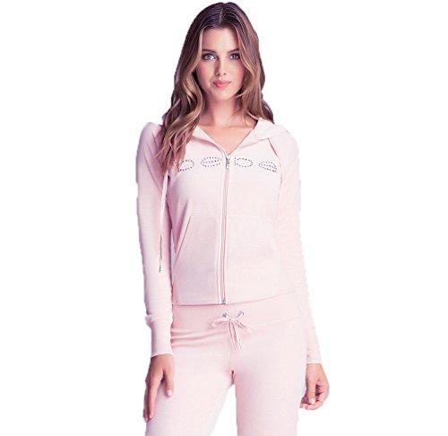 2B BEBE Women's Solid Velour Velvet Zip Up Activewear Jacket Hoodie With Crystal Bebe Logo Pretty In Pink Large Pink Velour Hoodie