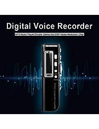 Grabadora de voz, grabadora de voz digital, grabadora de sonido portátil de 8 GB, dictáfono, grabadora activada por voz con reproductor de MP3 para lectura, entrevista, clase, discurso, grabación de podcast, conversación en grupo