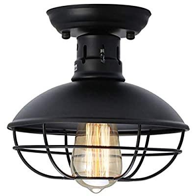 Industrial Metal Cage Ceiling Light, E26 Rustic Mini Semi Flush Mounted Pendant Lighting Dome/Bowl Shaped Lamp Fixture for Country Hallway Kitchen Garage Porch Bathroom
