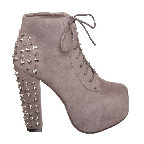 Lace up Platform Ankle Round Toe Booties + Studded Spike (5.5, grey) [Apparel]