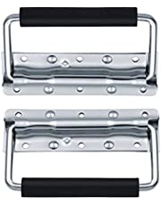 Spring Loaded Case Handle, 304 Stainless Steel Surface Mount Chest Handle with Rubber Grip, 5.5 Inch Thickened 2mm (Pack of 2)
