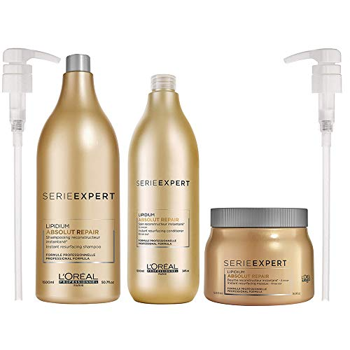 Loreal Serie Expert Lipidium Absolut Repair Shampoo 50.7 Oz & Conditioner 34 Oz & Absolut Repair Instant Resurfacing Masque (New Packaging) 16.9 Oz With Pumps & Beautify Comb