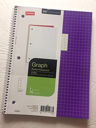 Staples Graph Ruled 4x4 Spiral Notebook, 8'' x 10-1/2'', Assorted colors