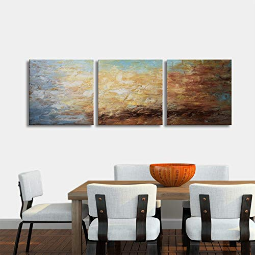 Abstract Wall Art 100% Hand Painted Modern Oil Painting on Canvas Large Framed Blue and Brown 3 Piece Artwork Ready to Hang for Living Room Bedroom Office Home Decoration 20x60'' by Aitesi Art