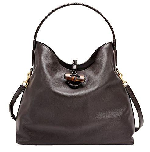 Gucci Bamboo Brown Leather Soft Deer Large Tote Bag Shoulder Strap 338982 2164