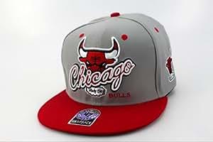 NBA Chicago Bulls 9FIFTY Súper Moda Snapbacks hip hop Caps (gris, borde rojo y el logotipo del equipo)